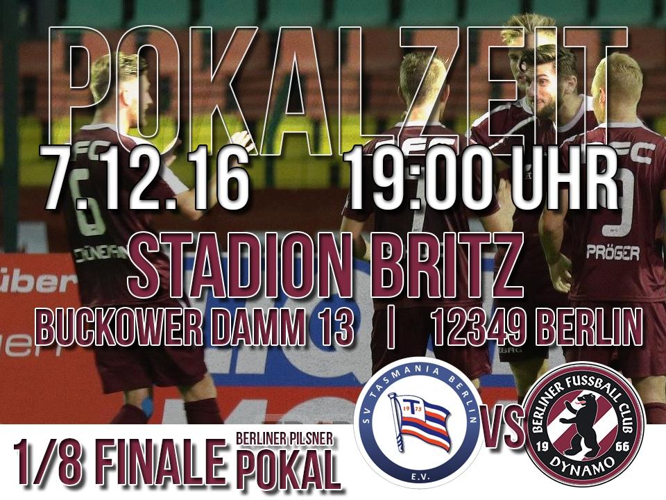 1/8 Finale Pokal: 7.12.16 - 19:00 Uhr - Stadion Britz