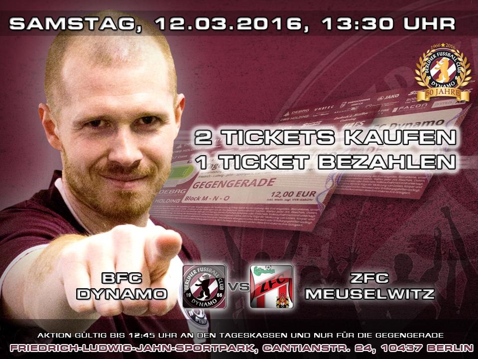 2 für 1-AKTION beim Spiel gegen Meuselwitz!