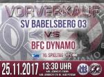 VORVERKAUF SV Babelsberg 03 - BFC DYNAMO hat begonnen